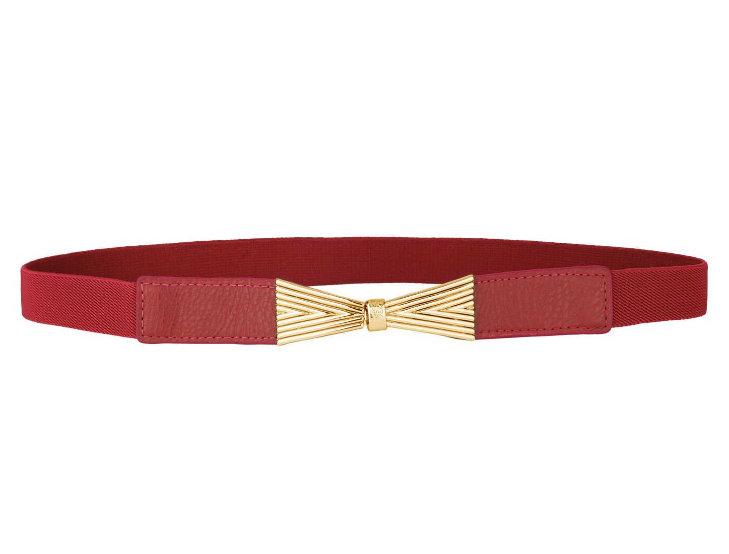 Ladies Bowknot Deocr Metal Hook Buckle Elastic Waistbelt Cinch Band Red