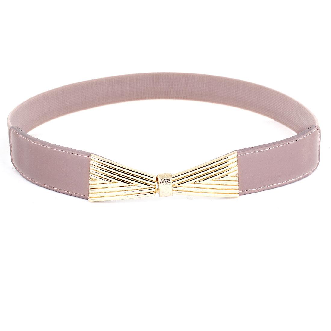 "Lady Interlocking Hook Buckle 1"" Width Elastic Waist Band Belt Pale Pink"
