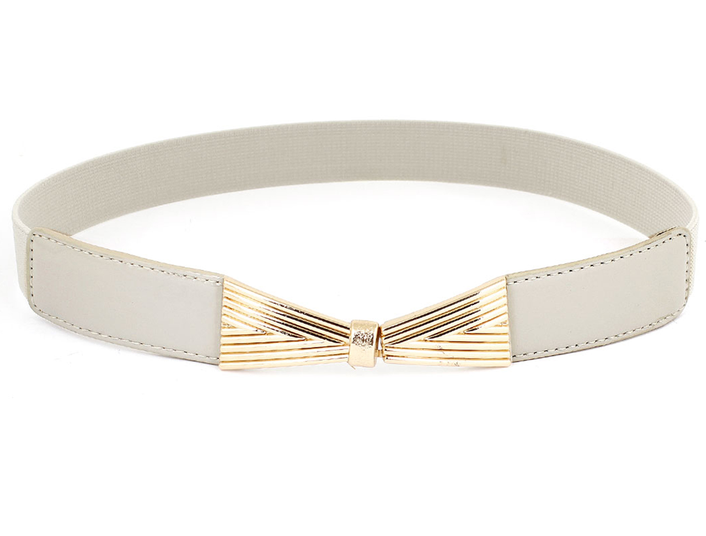 Ladies Bowknot Deocr Metal Hook Buckle Elastic Waistbelt Cinch Band Beige