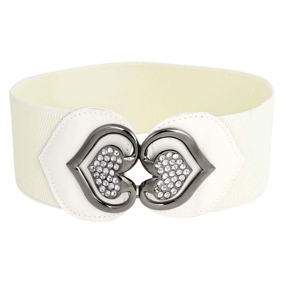 Lady Heart Shape Rhinestone Decor Hook Buckle White Elastic Cinch Belt Band