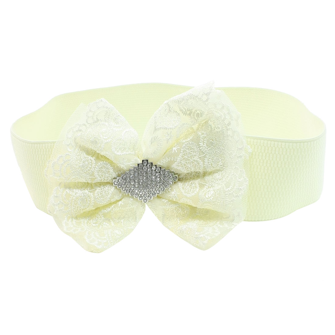 Woman Plastic Crystal Bowknot Decor Press Button Buckle Beige Elastic Cinch Belt