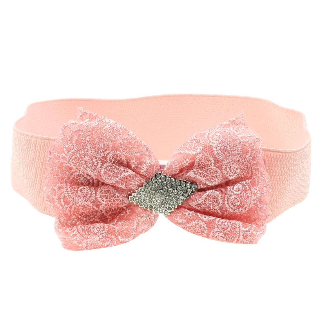 Woman Plastic Crystal Bowknot Decor Press Button Buckle Pink Elastic Cinch Belt