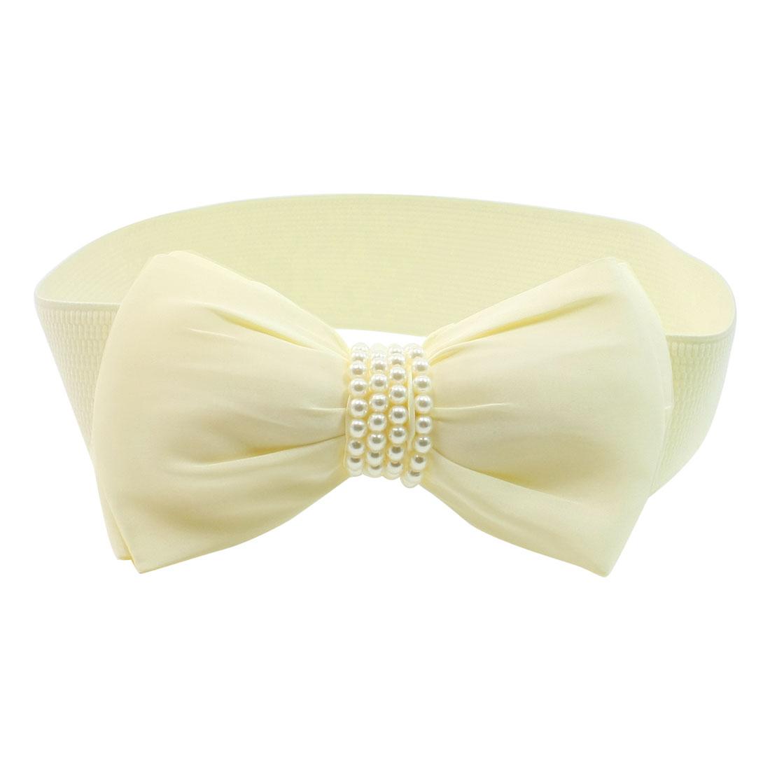Woman Plastic Bead Bowknot Decor Press Button Beige Elastic Cinch Belt