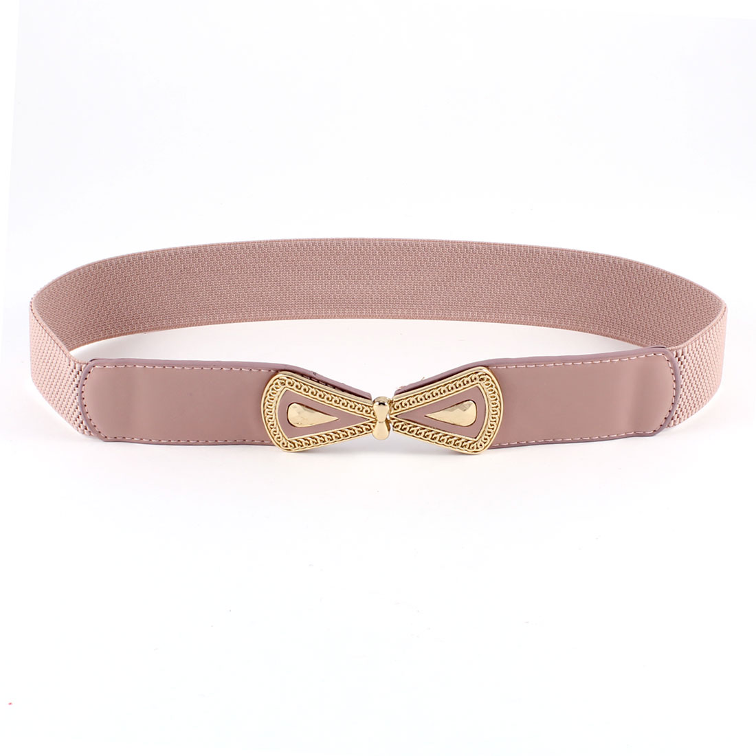 Woman Pink Gold Tone Bowtie Interlocking Closure Stretchy Waistband Cinch Belt