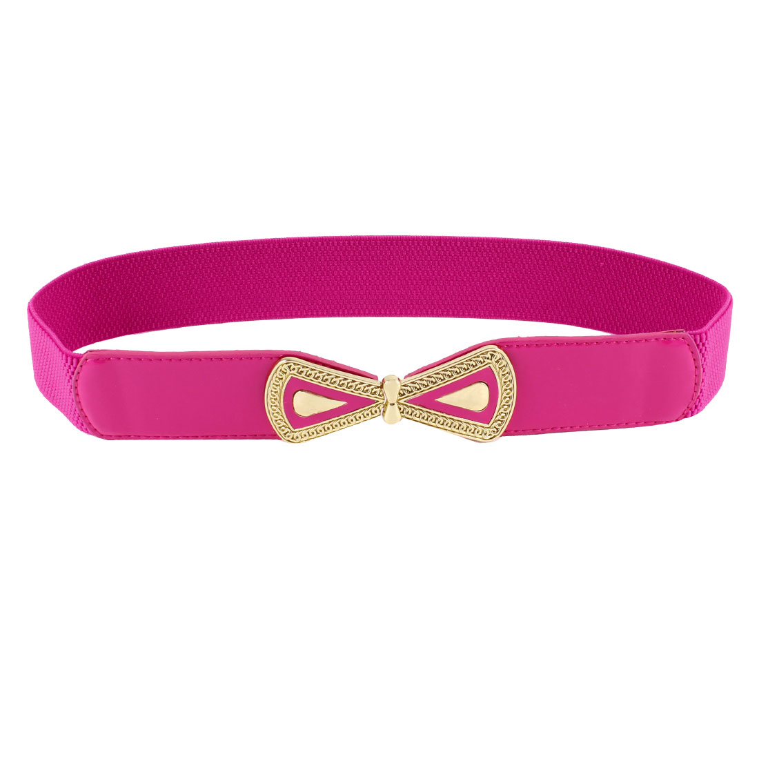 Ladies Bowtie Interlock Buckle Faux Leather Thin Skinny Waistband Belt Fuchsia