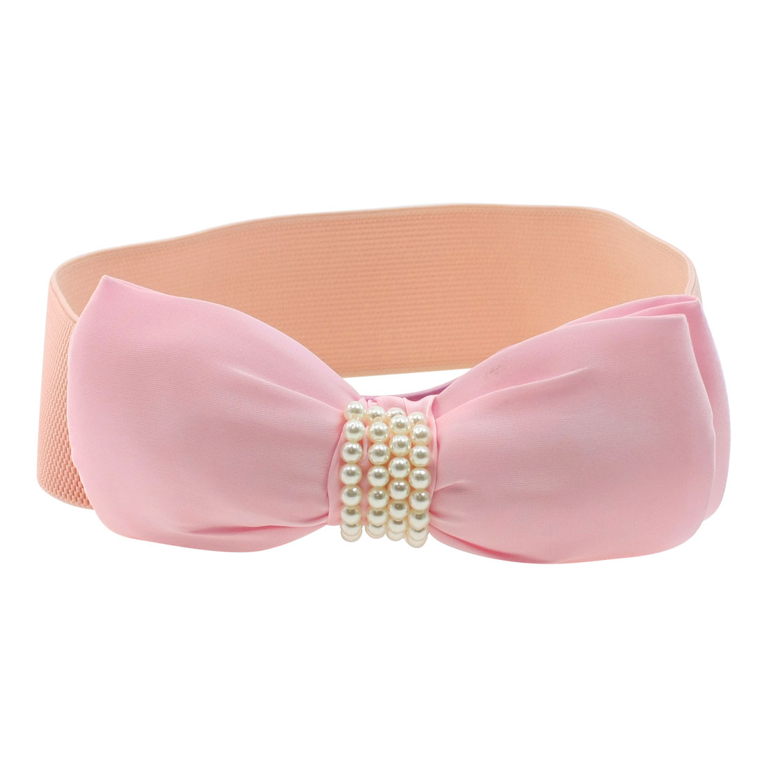Plastic Bead Accent Pink Stretchy 6cm Wide Cinch Belt for Ladies