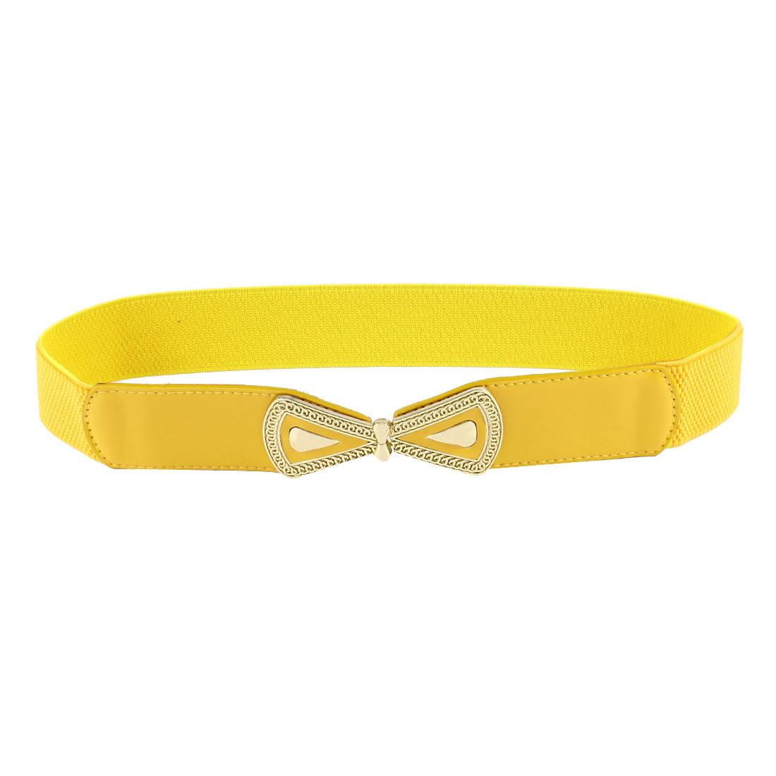 Ladies Bowtie Interlock Buckle Faux Leather Waistband Skinny Waist Belt Yellow