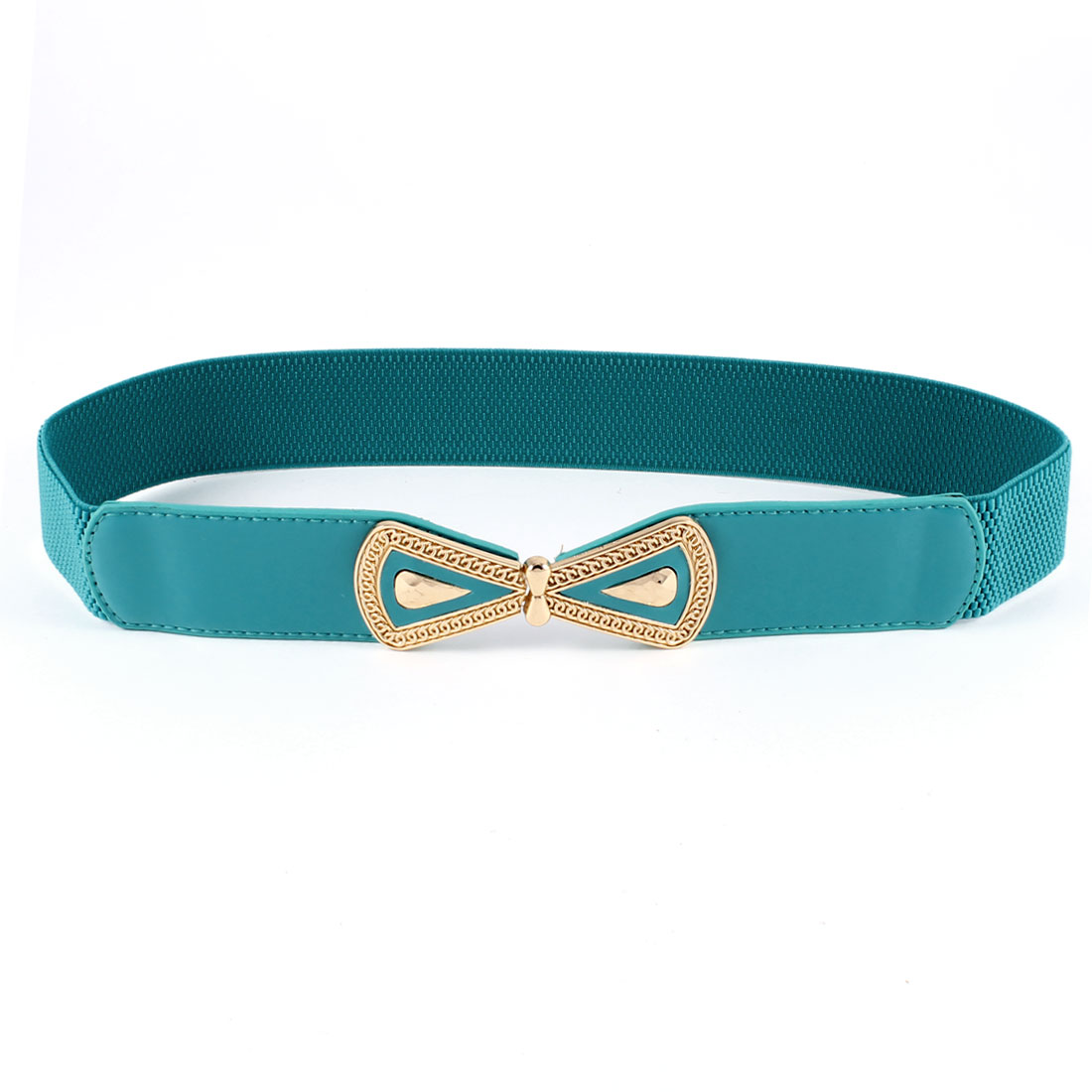 Lady Bowtie Interlock Buckle Faux Leather Thin Skinny Waistband Belt Teal Green