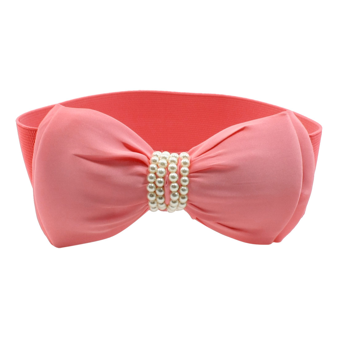 Press Button Bowknot Detail Salmon Pink Stretchy Waist Belt for Lady
