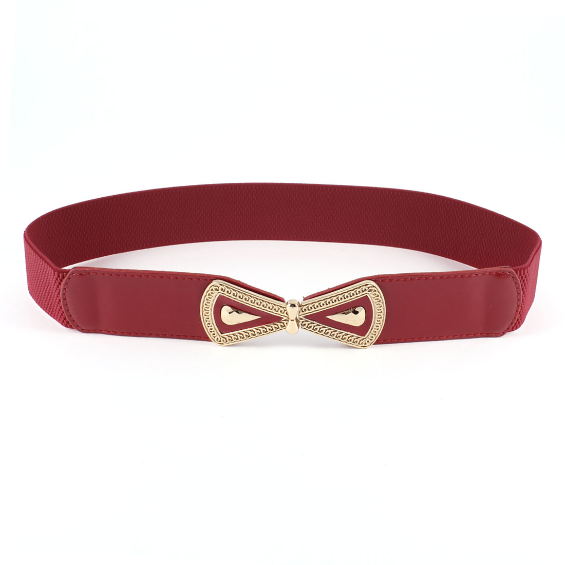 Woman Bowtie Interlocking Closure Elastic Waistband Cinch Belt Red Gold Tone