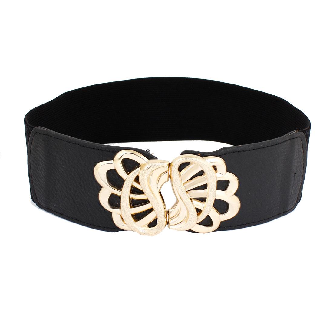 Lady 6cm Width Interlocking Buckle Black Elastic Cinch Belt Band