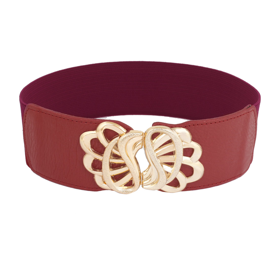 Women Floral Style Metal Hook Buckle Stretchy Waistbelt Band Red