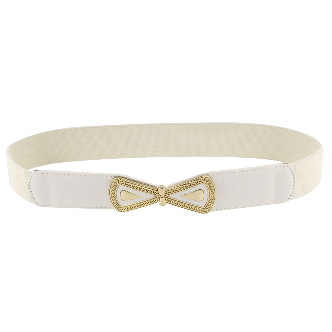Women Bowtie Interlock Buckle Faux Leather Waistband Skinny Waist Belt White