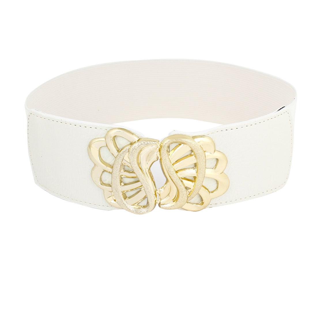 Floral Pattern Interlock Buckle White Elastic Waist Band Belt for Lady