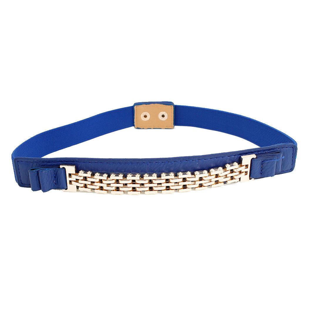 Lady Press Stud Button Buckle Stretchy Waist Belt Waistband Corset Band Blue