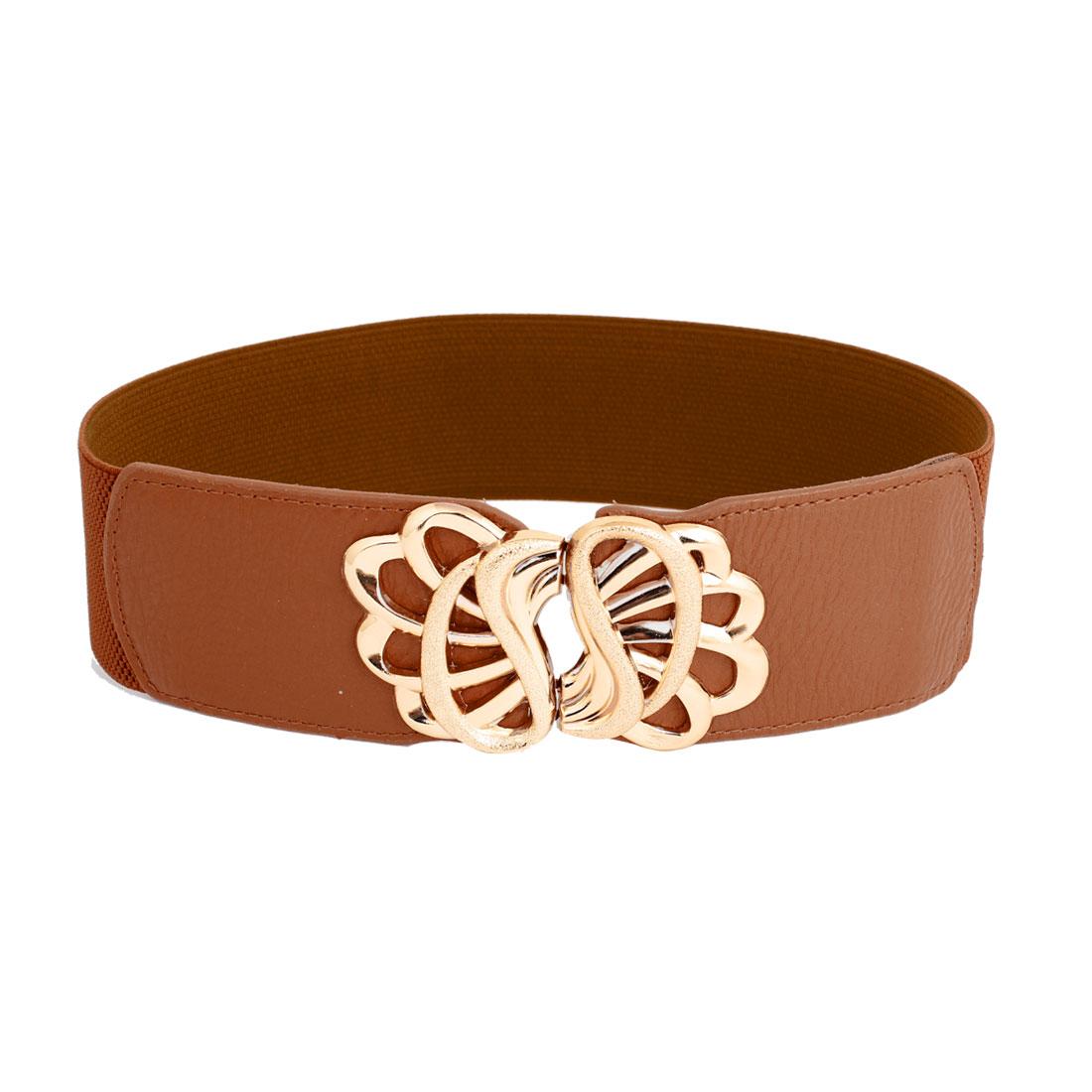Lady 6cm Width Interlocking Buckle Brown Elastic Cinch Belt Band