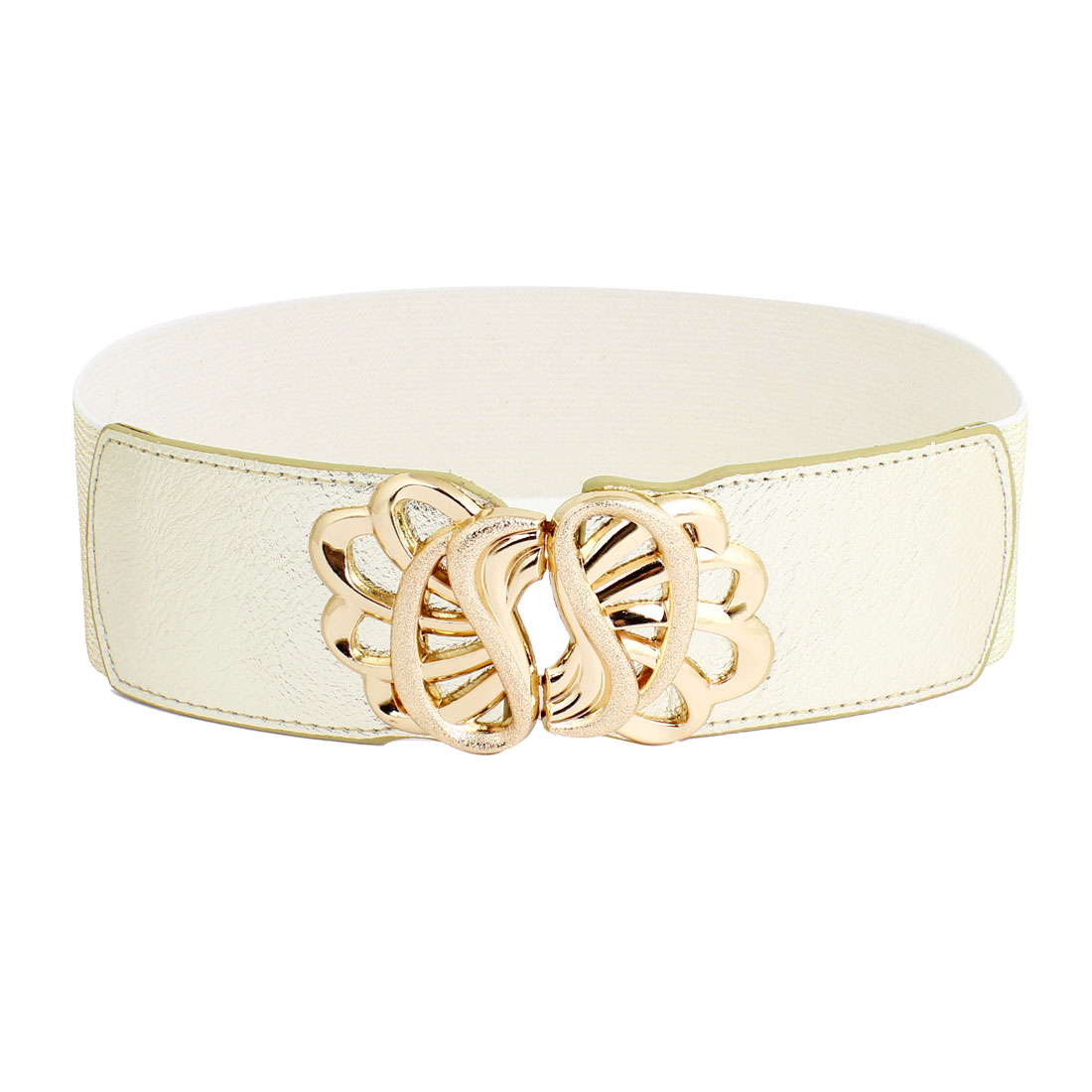Women Floral Style Metal Hook Buckle Stretchy Waistbelt Band Gold Tone