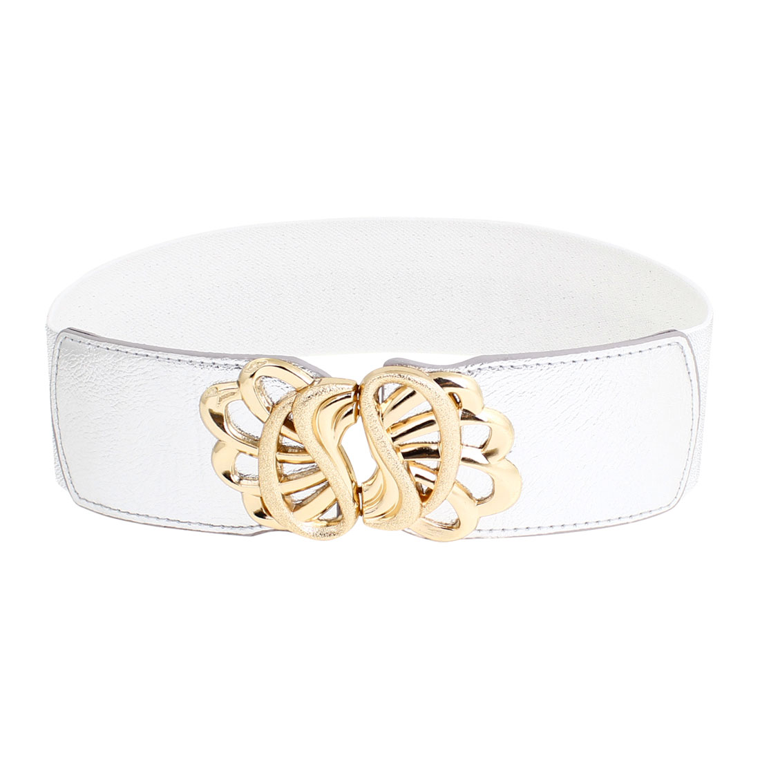 Women Floral Style Metal Hook Buckle Stretchy Waistbelt Band Silver Tone