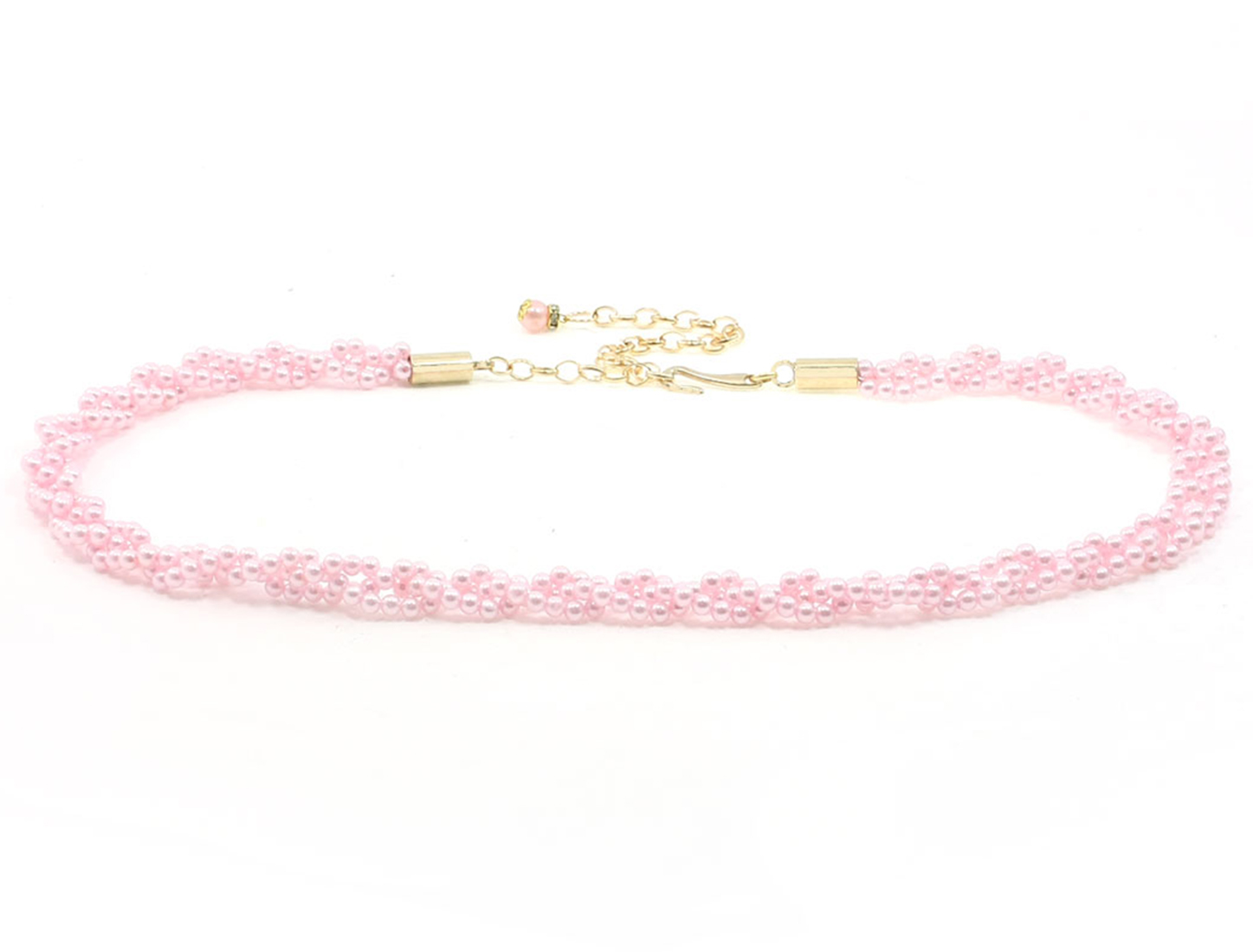 Pink Plastic Bead Detailed Lobster Clasp Wasit Chain Cinch Belt for Lady