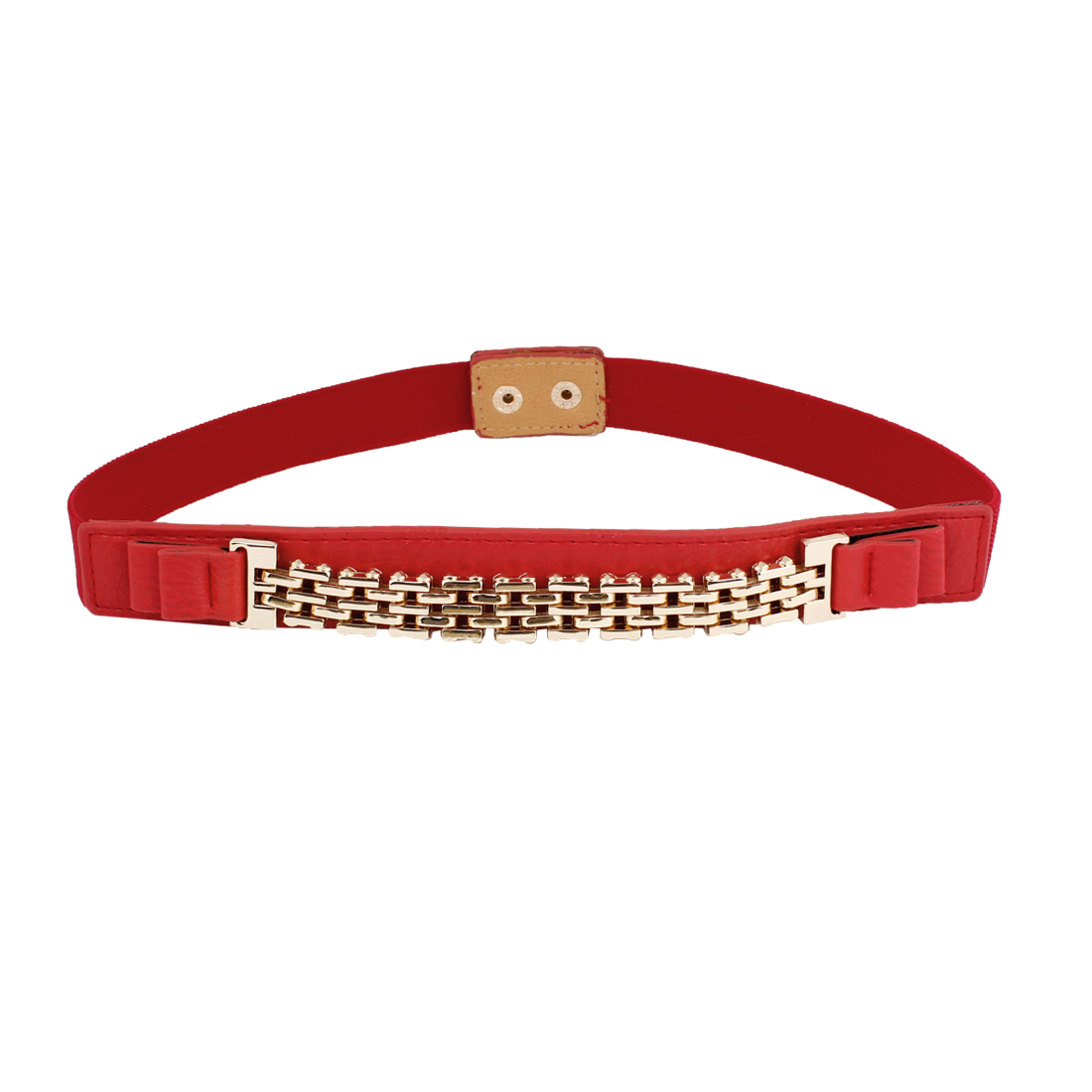 Lady Press Stud Button Buckle 2.5cm Width Elastic Red Waist Belt Corset Band