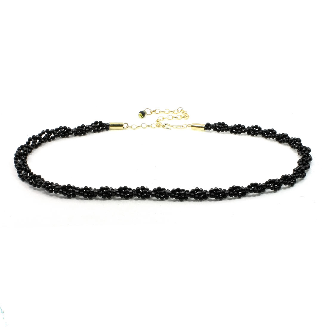 Ladies Cylinder Black Bead Detailing Heart Shape Dangler Waist Belt Chain