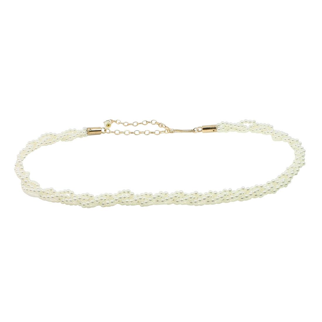 Women Cylinder White Bead Beaded Chain Belt Cinch Waistbelt Waist Ornament