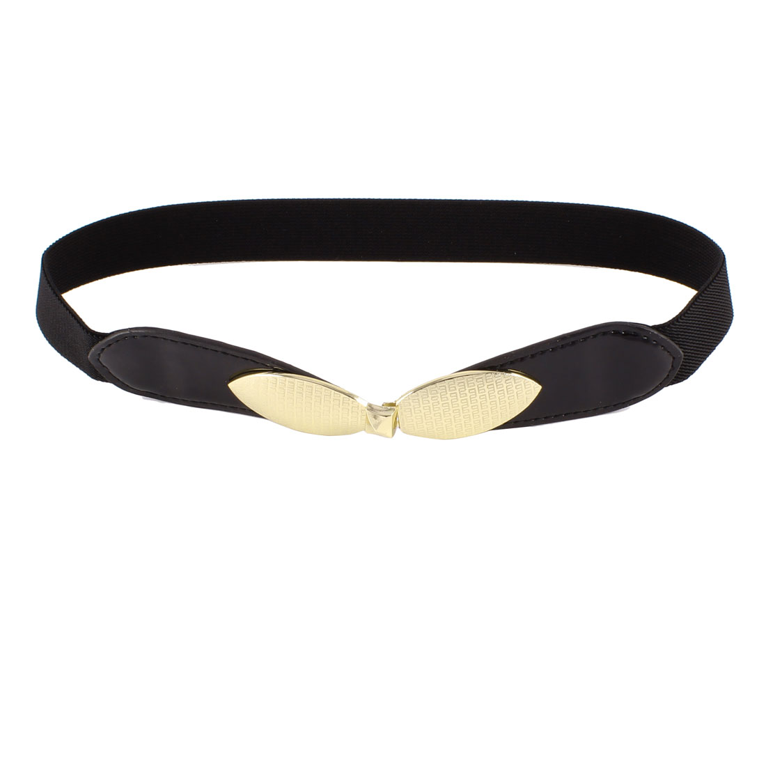 Woman Bowtie Interlock Buckle Faux Leather Stretch Skinny Waist Belt Black