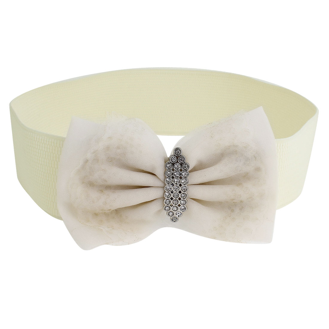 Woman Faux Rhinestone Decor Press Stud Button Buckle Beige Waist Belt Band Cinch