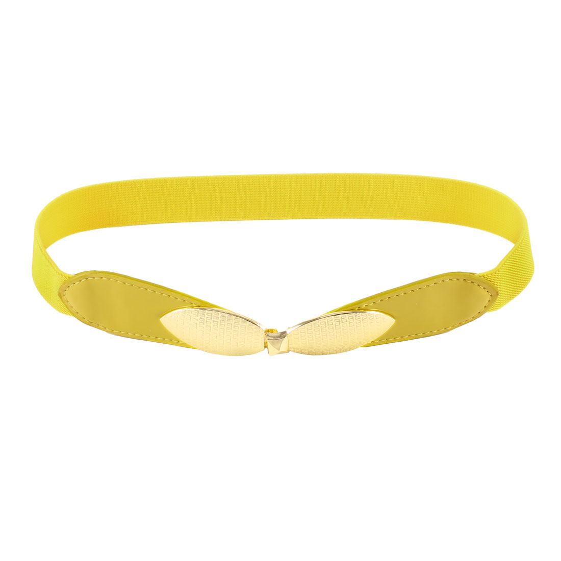Woman Interlock Closure Faux Leather Thin Skinny Waistband Waist Belt Yellow