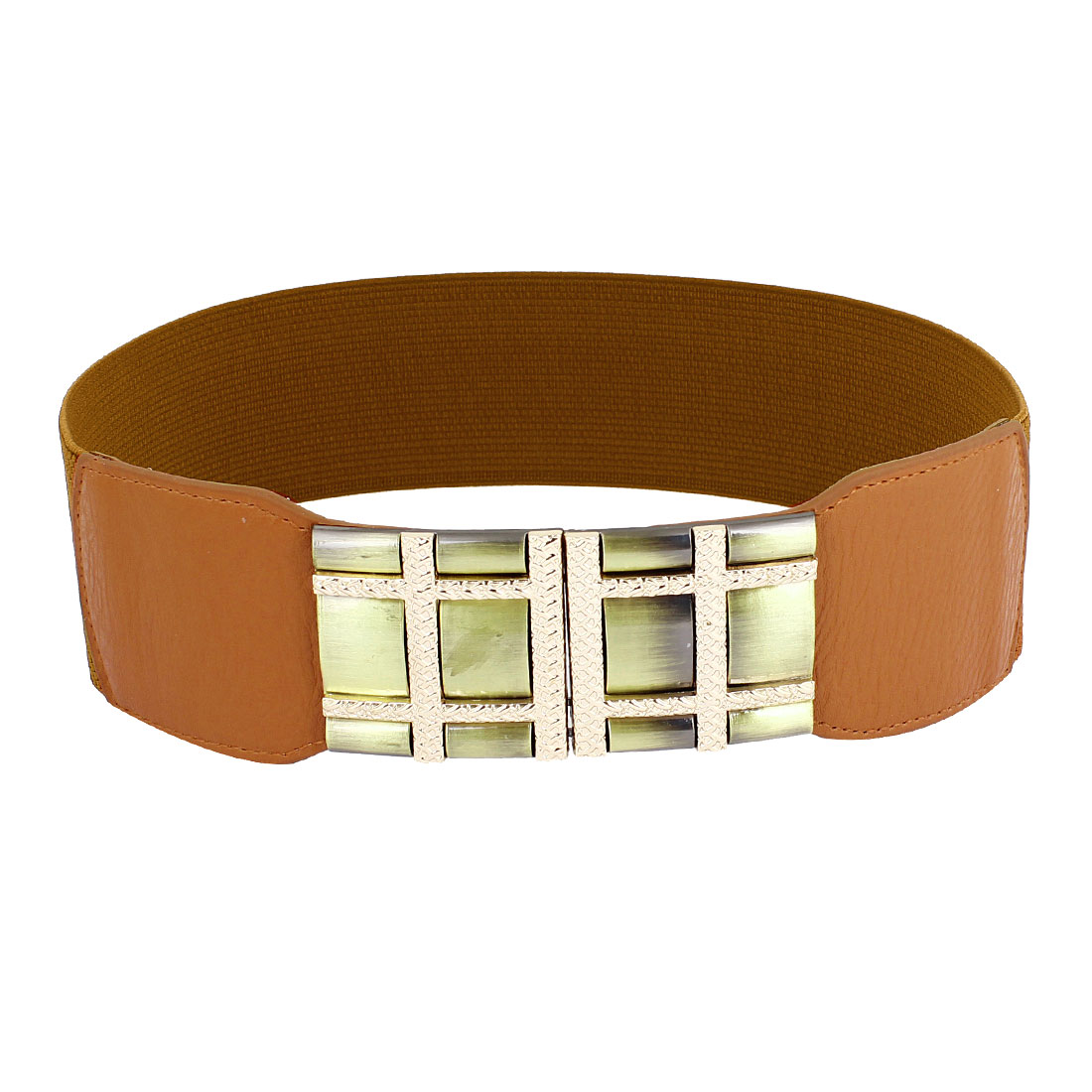 Metal Check Design Interlock Buckle Brown Elastic Waist Band Belt for Lady