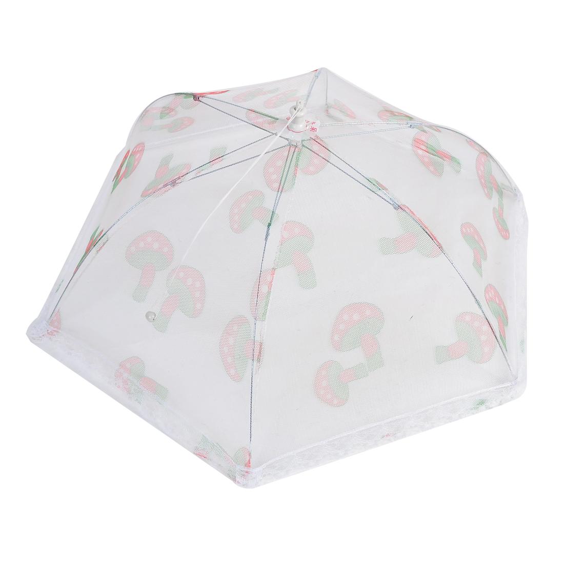 Red Green Mushroom Pattern Lace Hem Nylon Mesh Folding Food Cover Umbrella