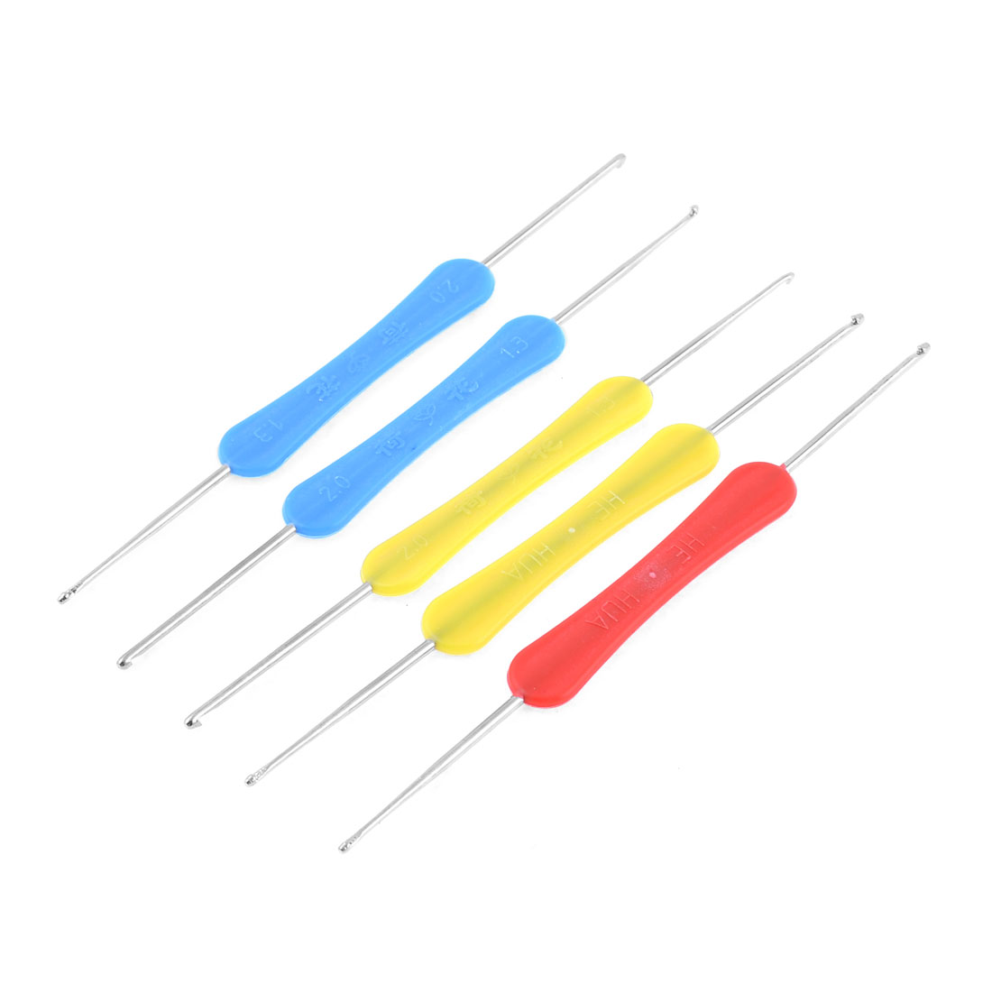 5 Pcs Yellow Blue Red Plastic Handle Metal Double Head Crochet Needles Hook