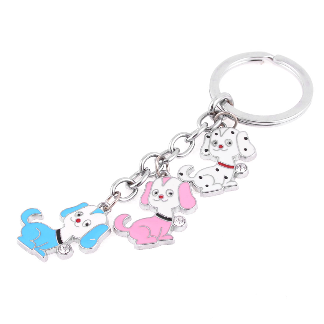 Metal Three Colored Puppy Dangling Pendant Keychain Keyring Hanging Ornament