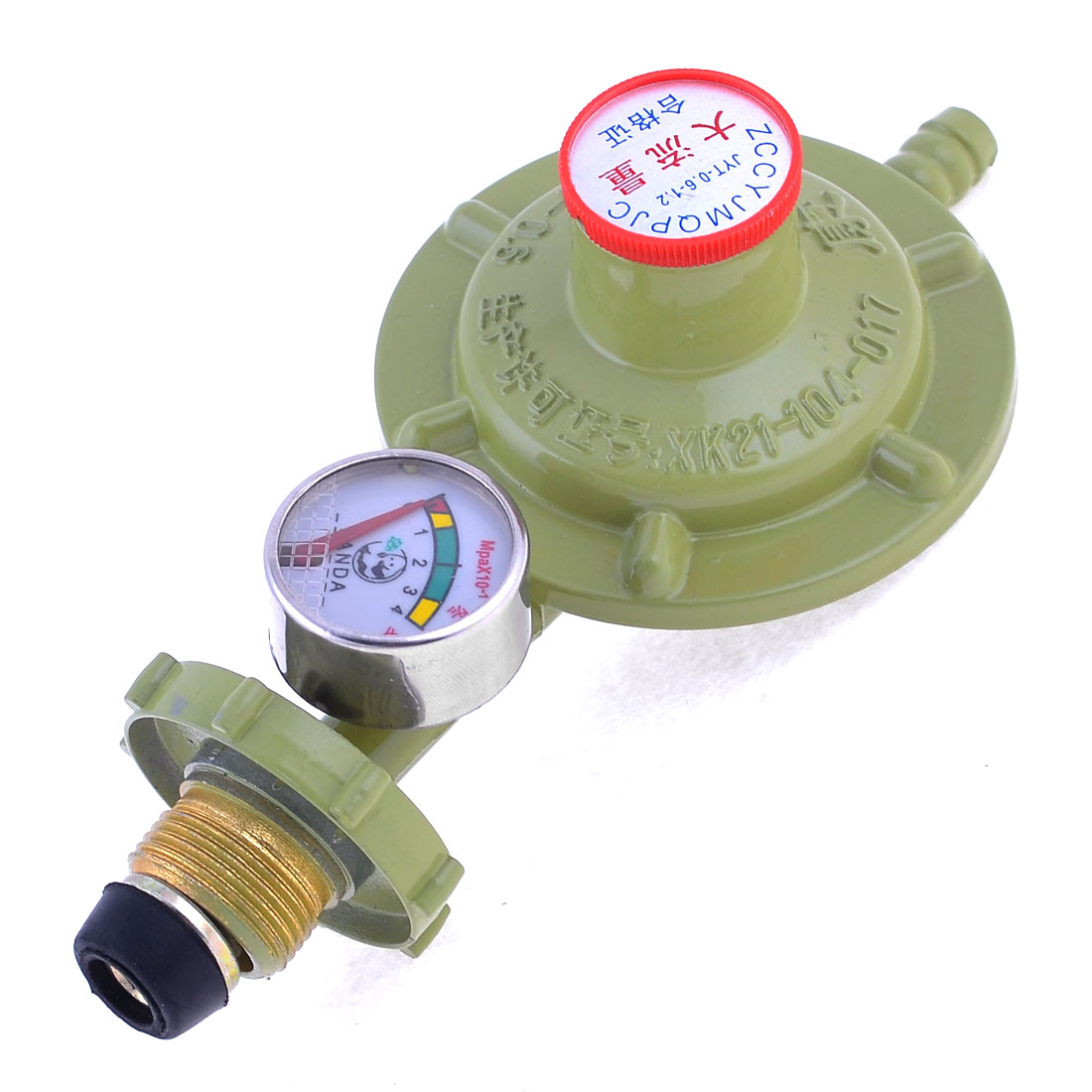 Olive Green Metal Single Outlet Liquefied Petroleum LPG Gas Reducer Regulator 1/2PT