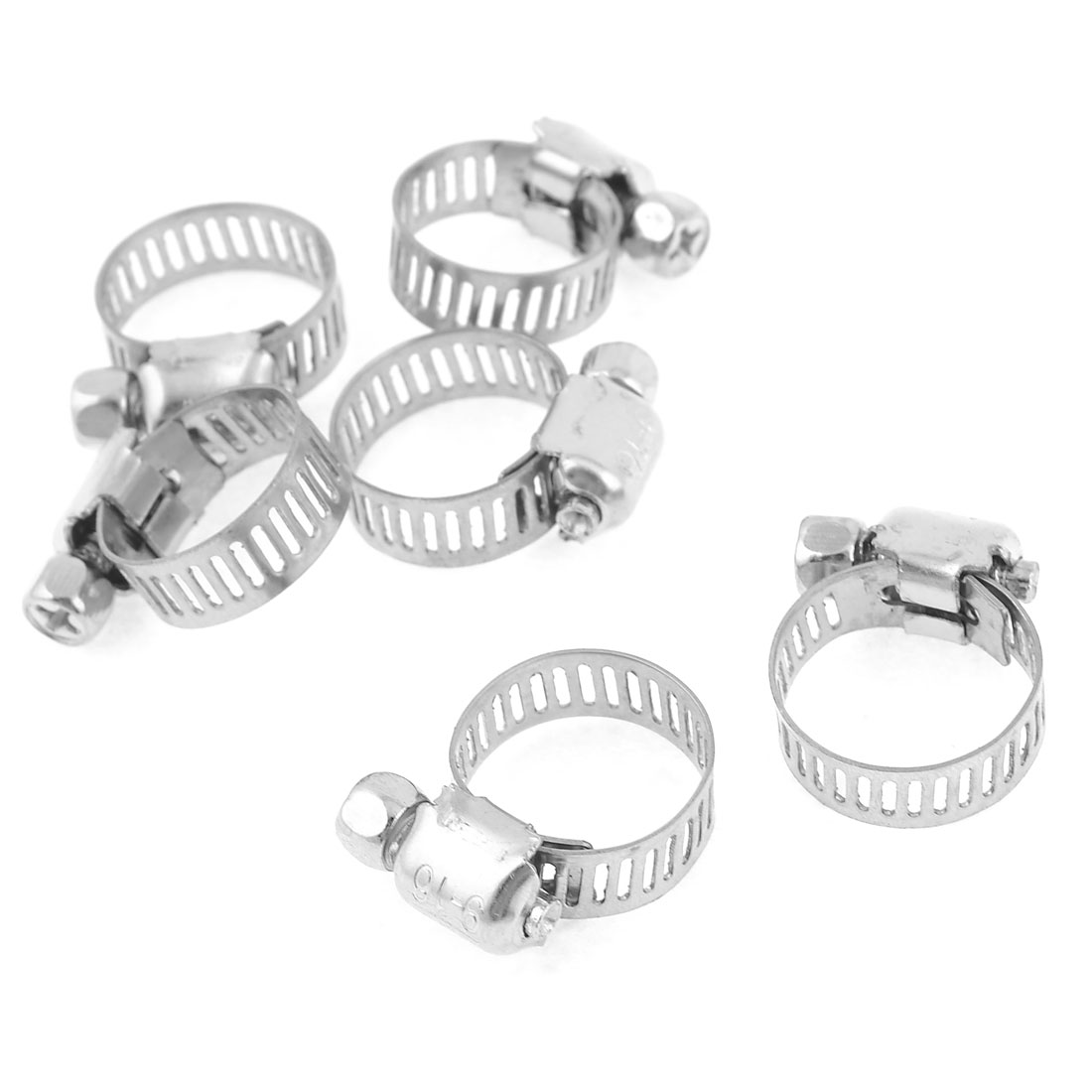 6 Pcs 9-16mm Adjustable Stainless Steel Hoop Ring Worm Gear Hose Clamp