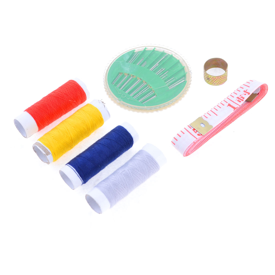 Family Sewing Kit Thimble Ring Thread Roller Needles Measuring Tape Set