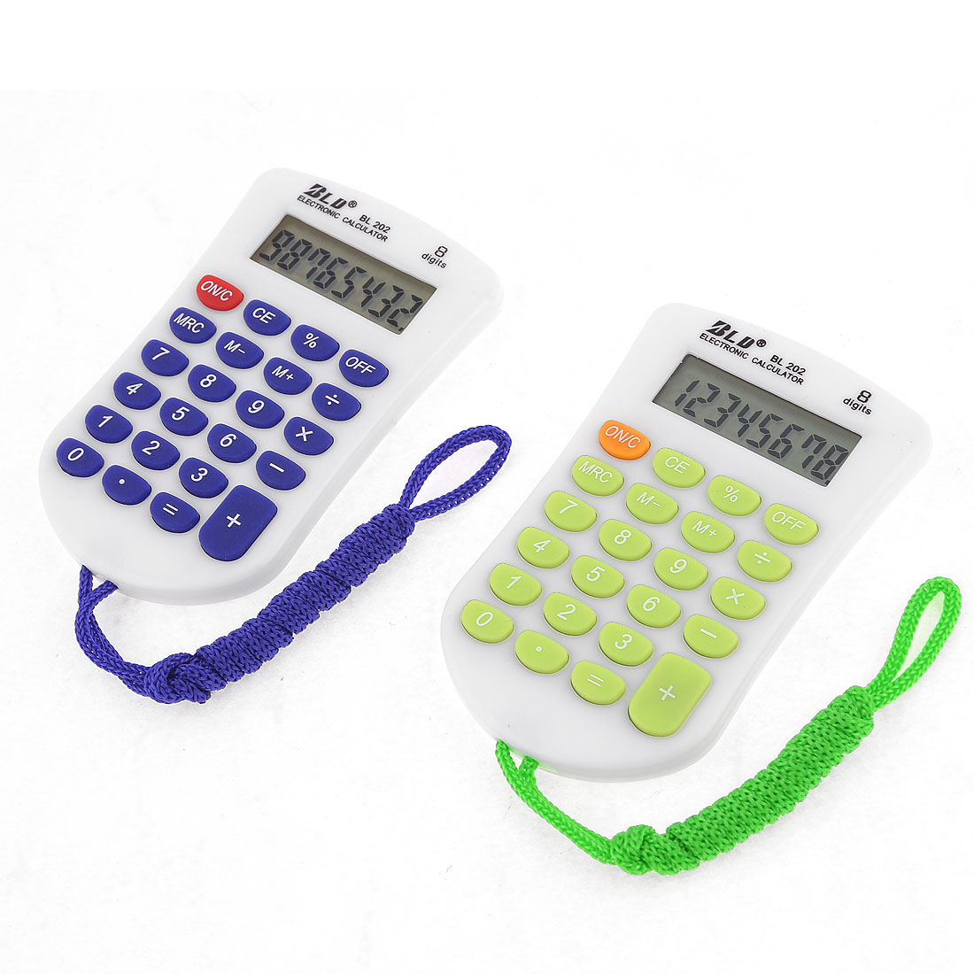 2 Pcs LCD Display 23 Rubber Keys Electronic Calculator White Blue Green