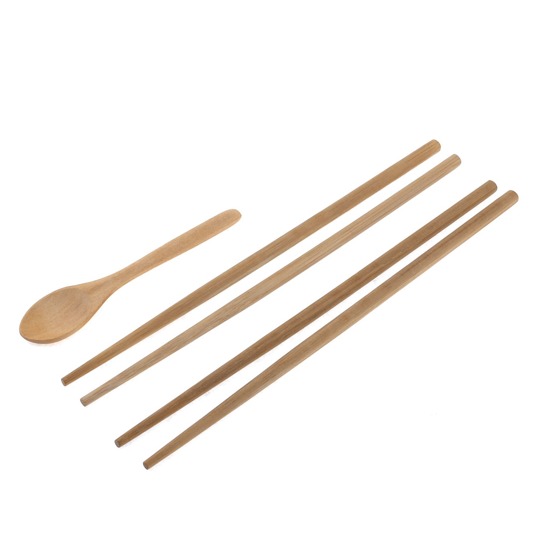 Brown Wooden Chinese Chopsticks Rice Spoon Tableware 3 in 1