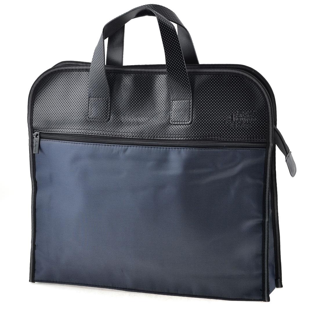 38cm x 33cm Rectangle 2 Sections Zip Up Closure Nylon File Bills Bag Dark Blue