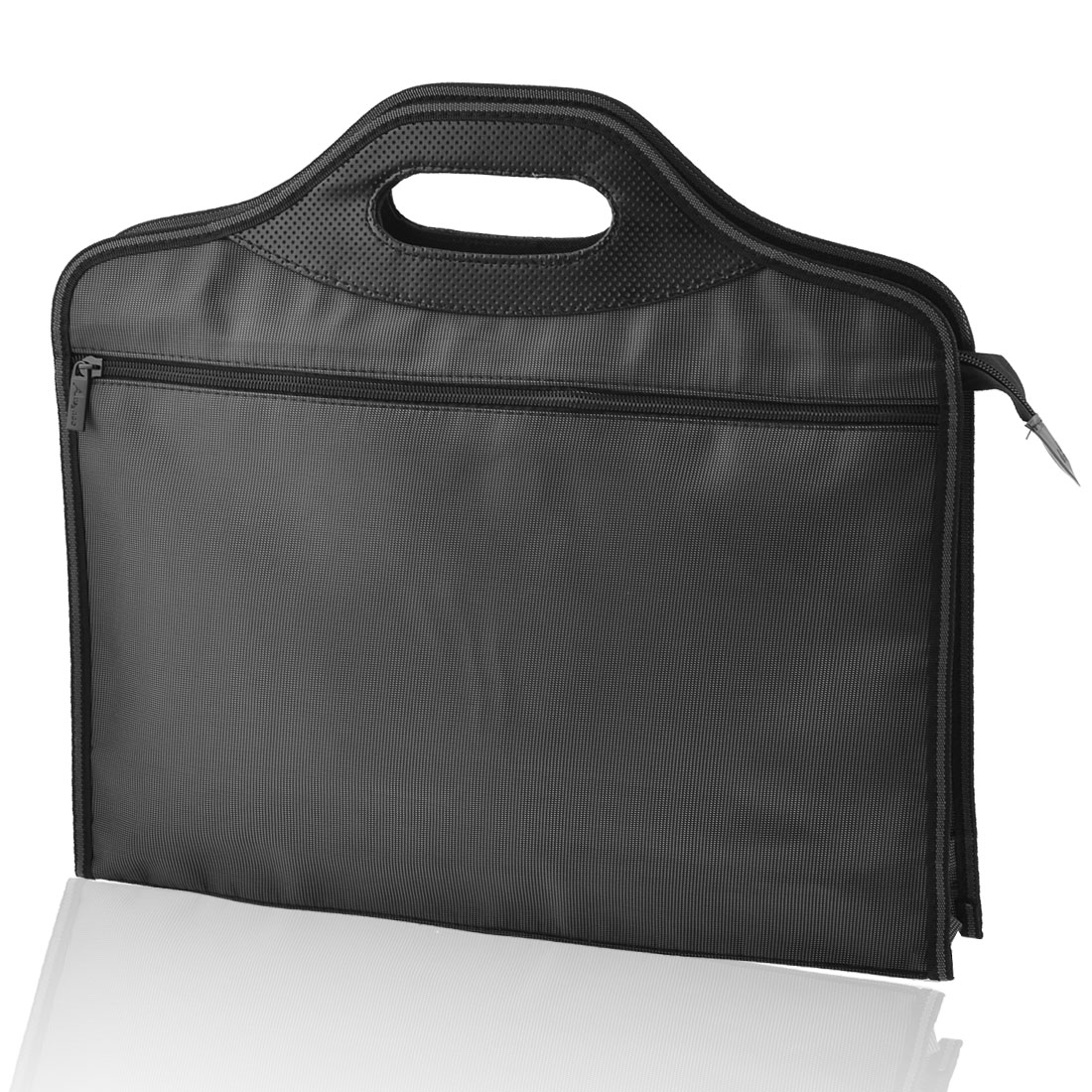 40cm x 35cm Rectangle 2 Sections Zip Up Closure Nylon File Bills Bag Black