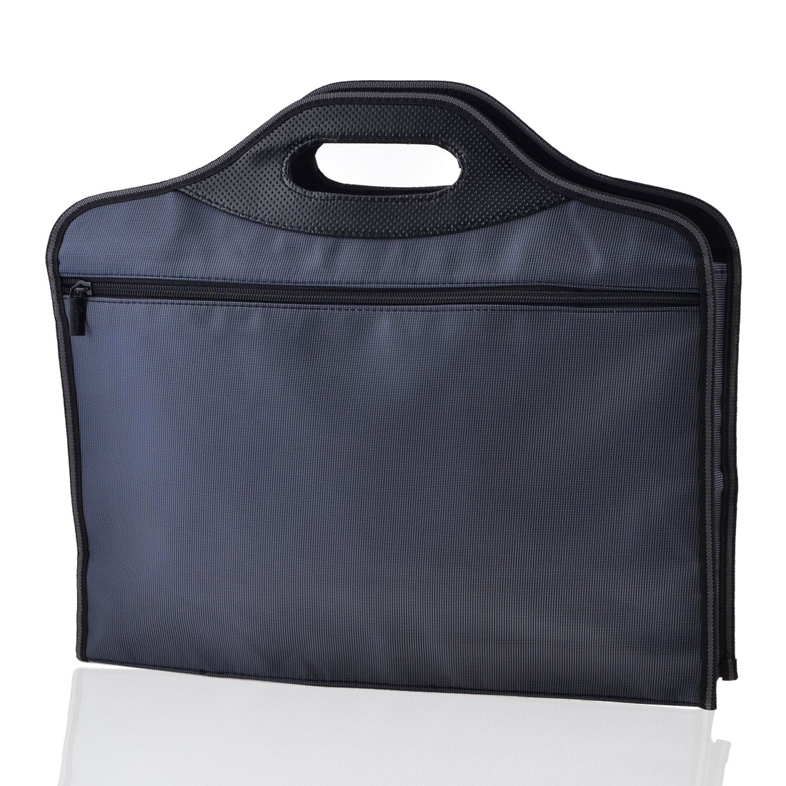 40cm x 35cm Rectangle 2 Sections Zip Up Closure Nylon File Bills Bag Dark Blue