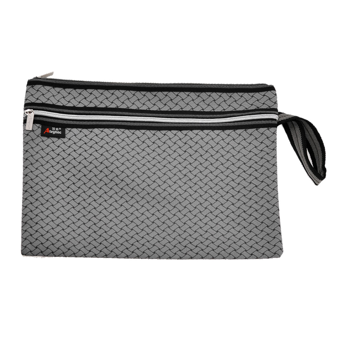 Rectangle Braid Pattern 2 Layer Zipper Closure File Documents Holder Bag Gray