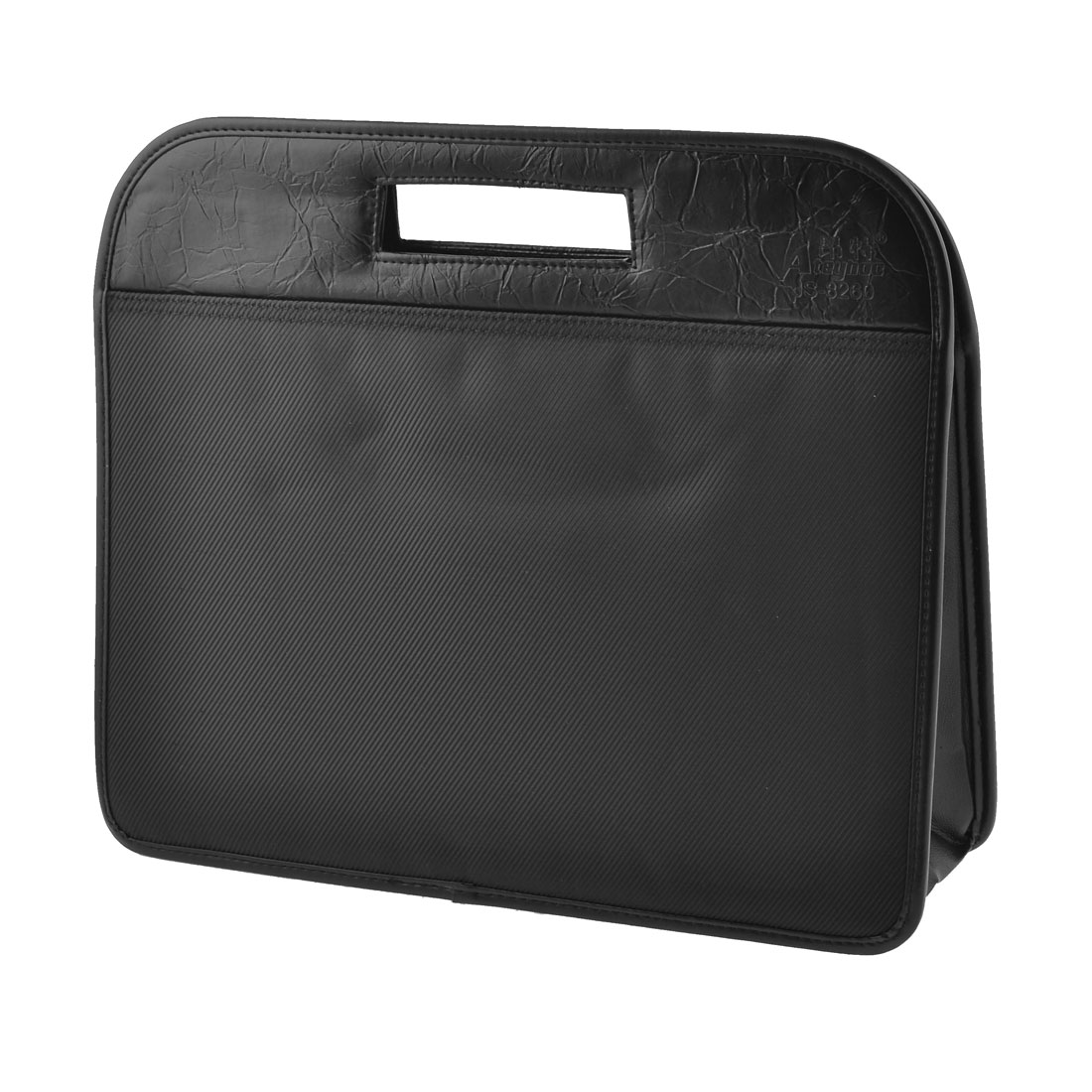 39cm x 33cm 3 Pockets Zip Up Nylon Black File Documents Bag Holder