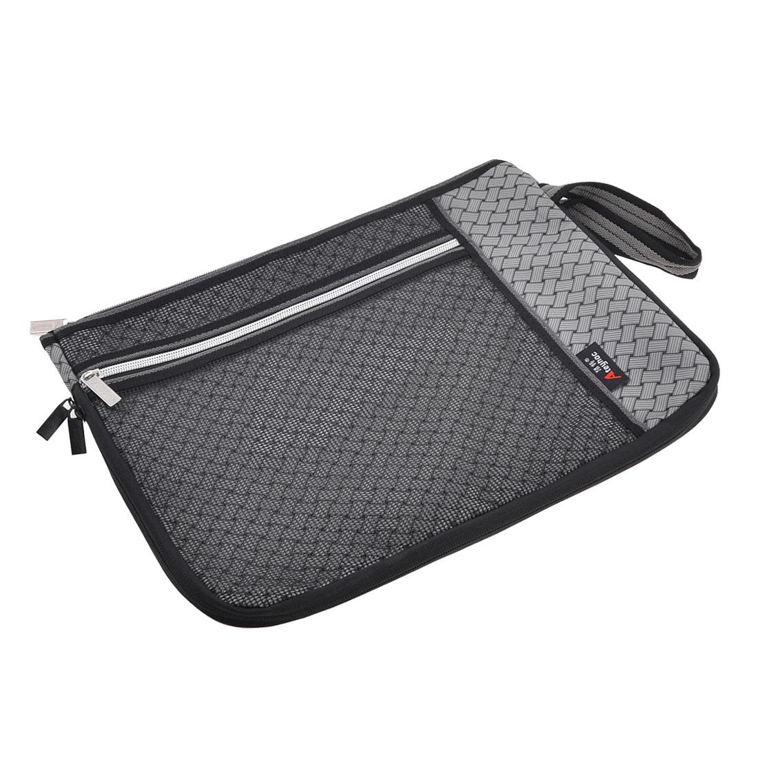 37cm x 27cm Zipper Closure Braid Pattern Two Pockets File Bag Grey