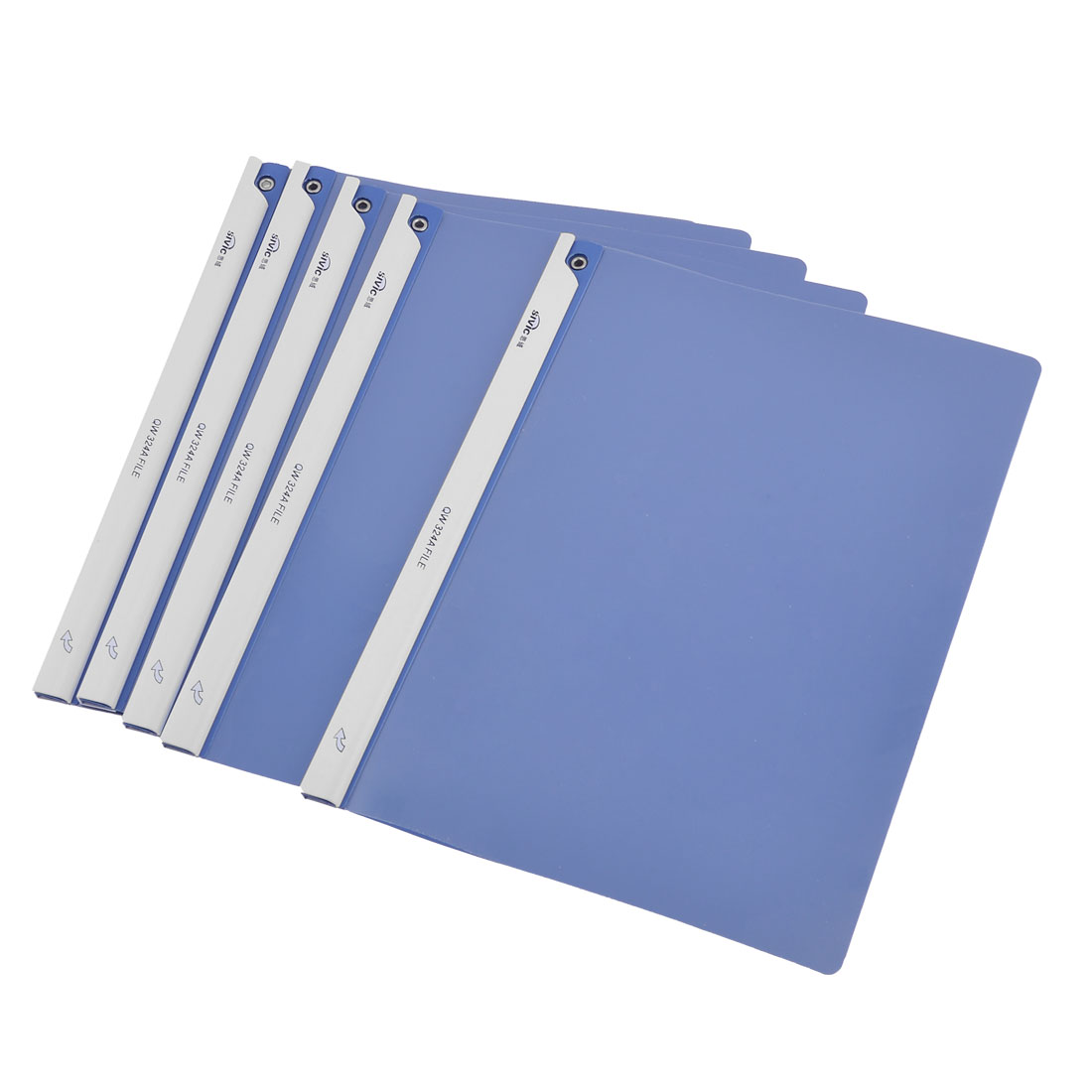 5 Pcs Office A4 Paper File Holder Storage Blue Clear White