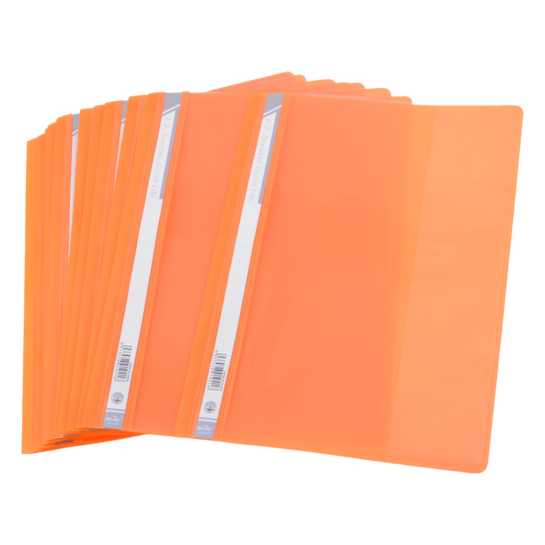 12 Pcs Size A4 Paper File Document Case Conference Folder Orange Clear
