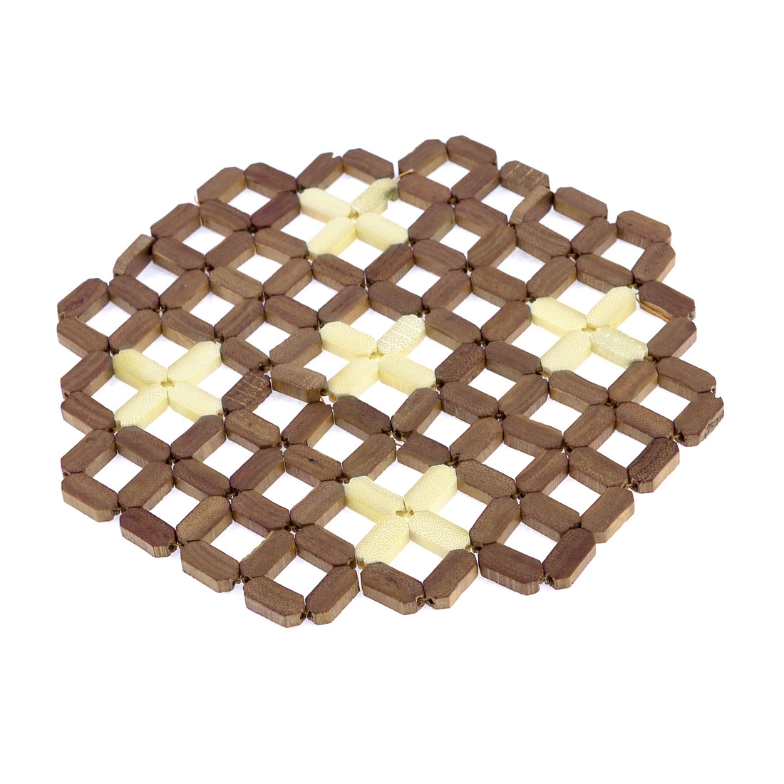 19cm x 19cm Square Bamboo Pot Holder Dish Hot Pad Mat Beige Brown