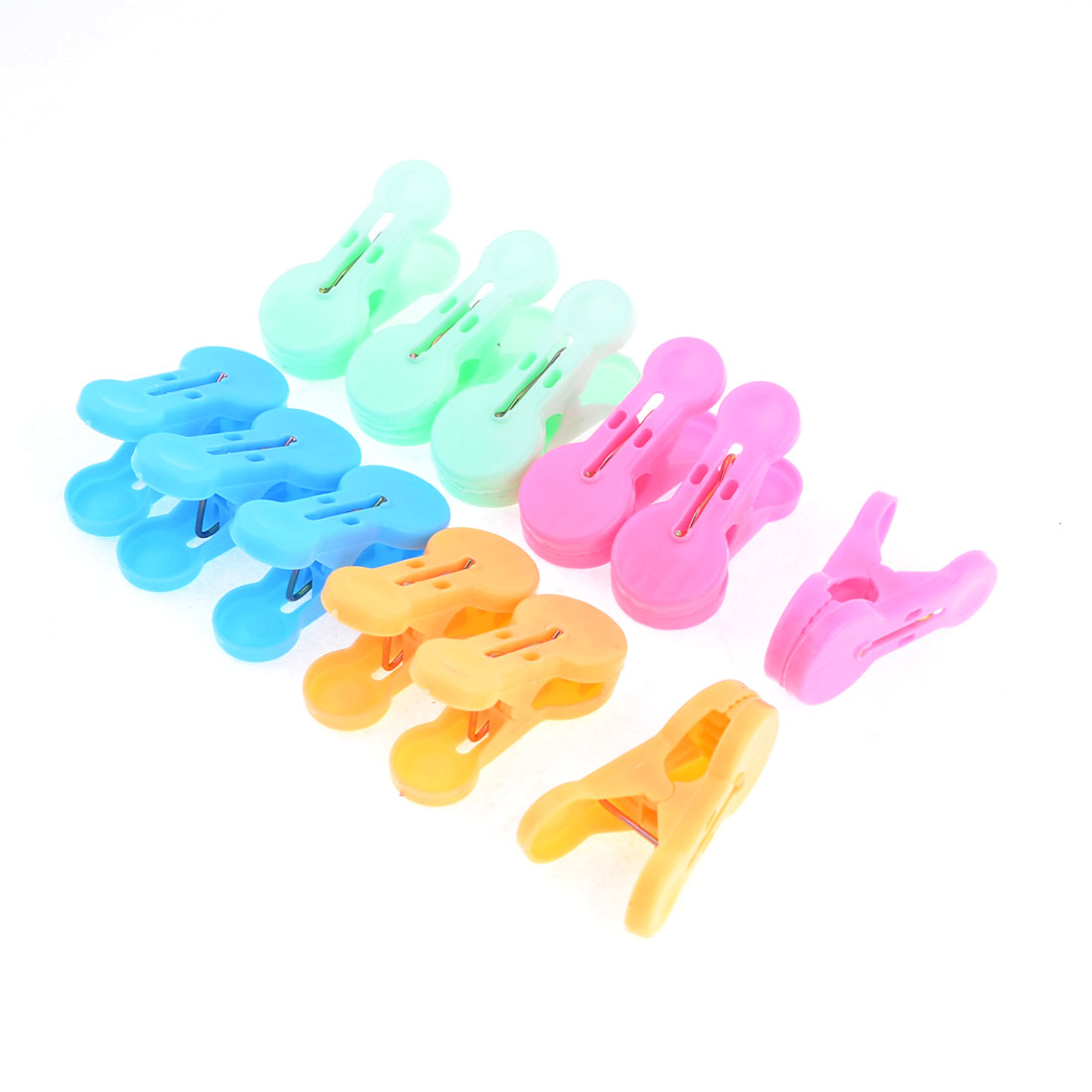 12pcs Household Assorted Color Plastic Balcony Socks Towels Clothes Clips Claws