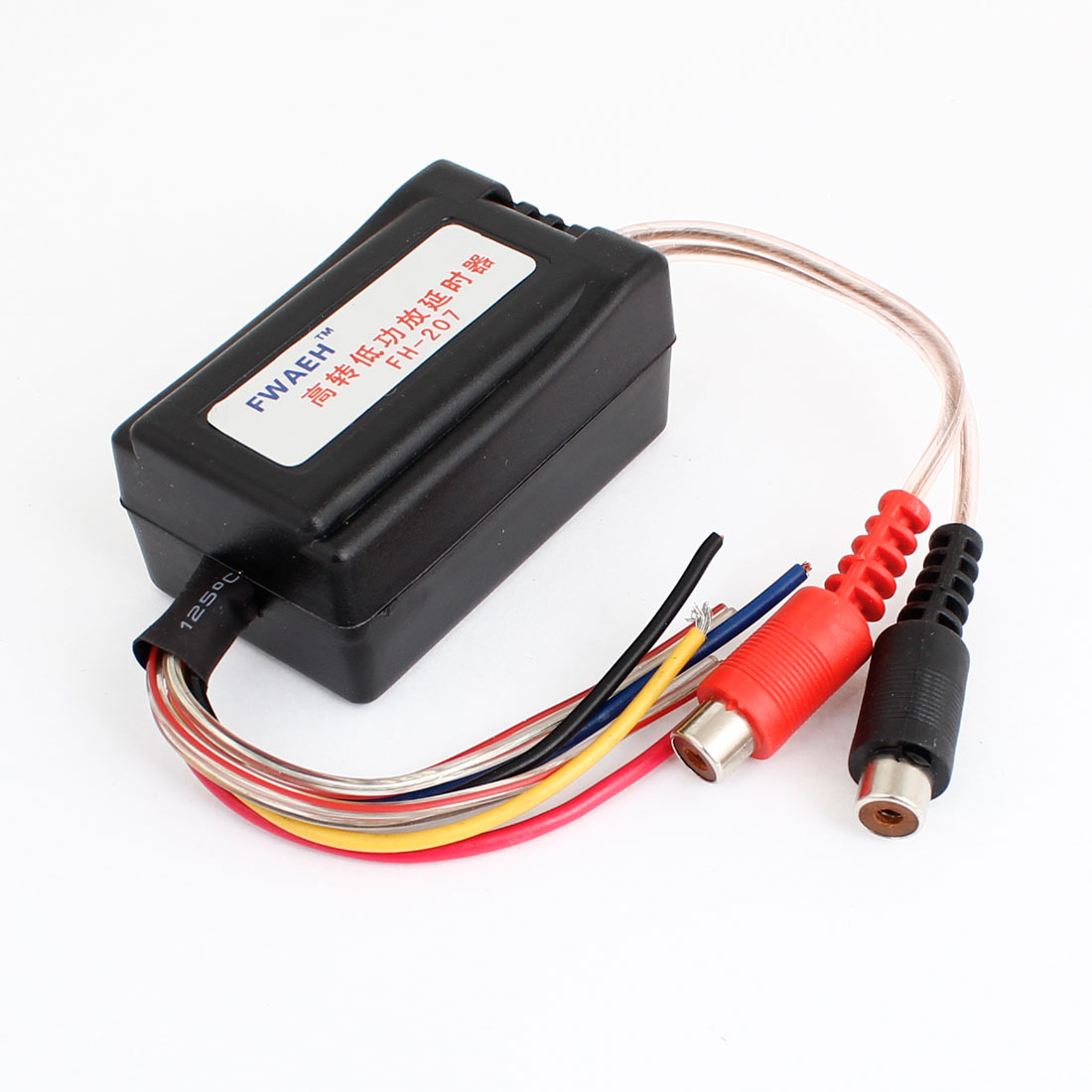 Car Auto 2 RCA Female High to Low Audio Amplifier Time Delayer