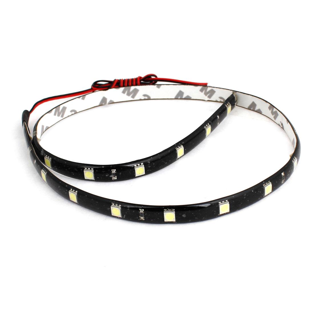 2 Pcs White 24 LED 5050 SMD Lamp String Waterproof Auto Strip Light 60cm